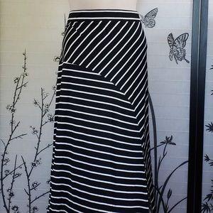 [Time and Tru] Black & White Striped Maxi Skirt